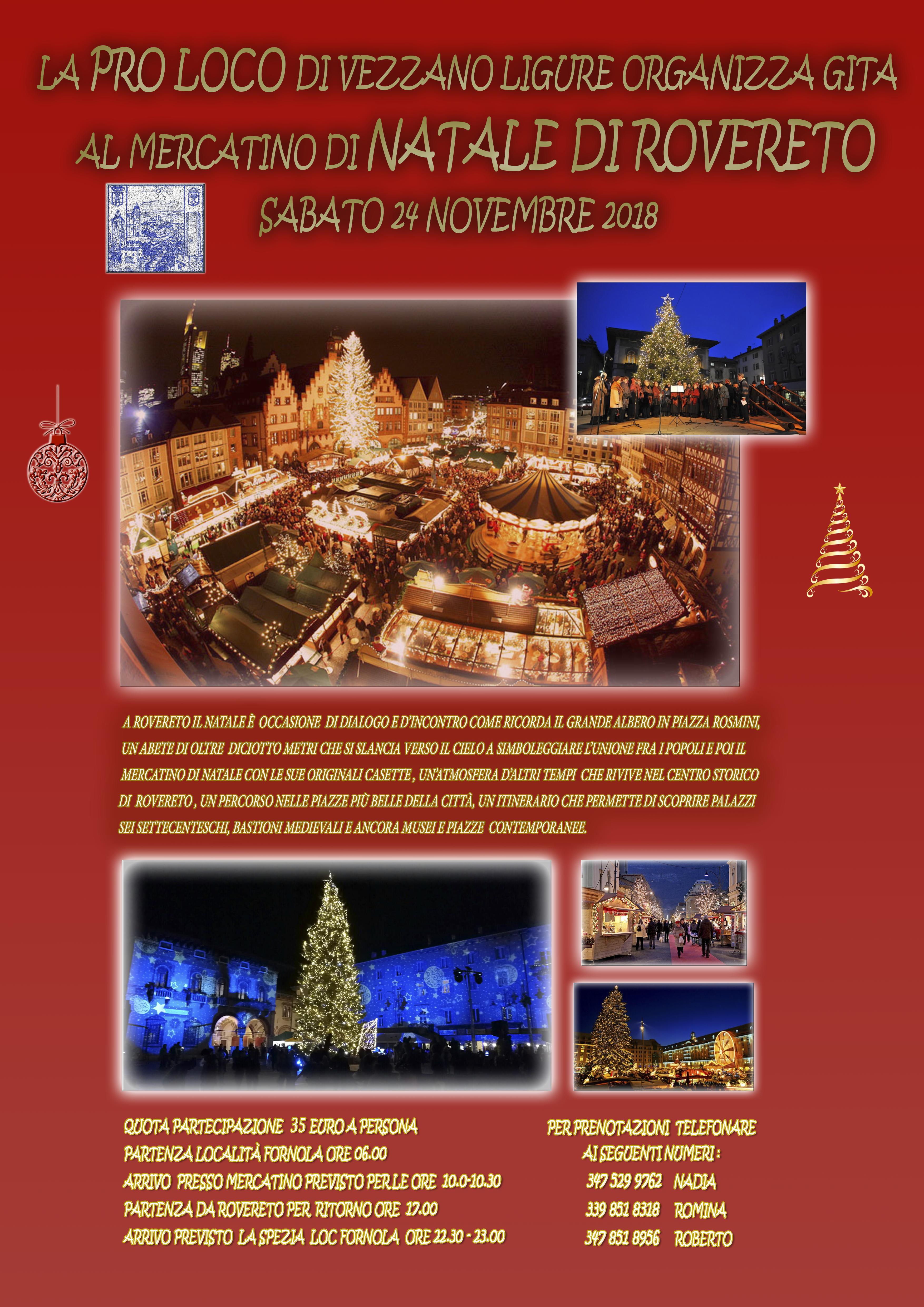 """La Pro Loco di Vezzano Ligure organizza """"Gita al mercatino di Natale di Rovereto"""" il 24 novembre 2018"""